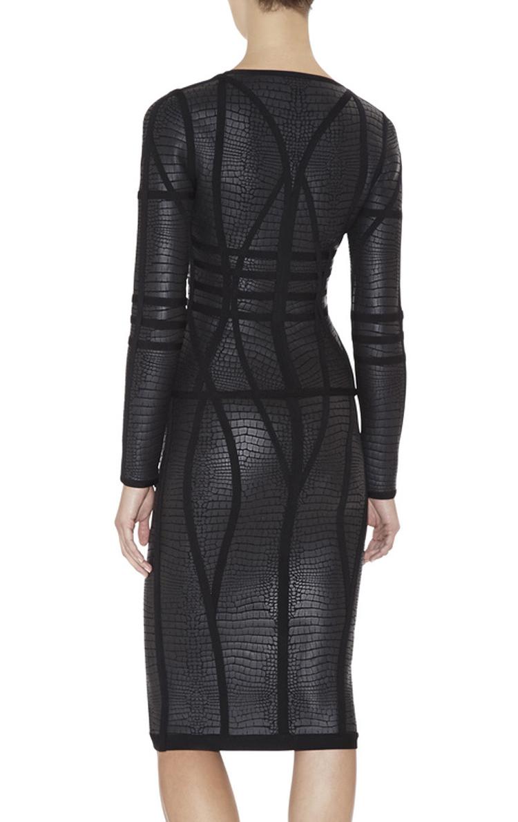 Black Luxury Noble PU Zipper Long Sleeve Bandage Dress H706(pre-order)$139