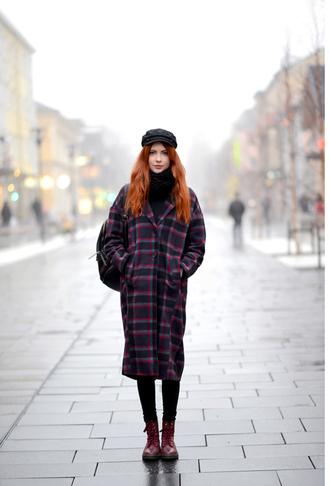 coat tumblr tartan plaid tartan coat printed coat fisherman cap boots red boots winter outfits