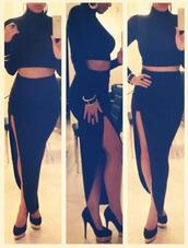 skirt,black skirt,jewels,t-shirt,shoes,black,long,dress,top,profashional,fashionholic,sexy outfit,queenb,black cutout skirt,sexy,cutout skirt,cute top,follow me!,love more,j'adore fashion,slit,slit skirt,party dress,sexy dress,high heels,heels,high waisted,high waisted skirt,romper,coat,skirt set,long skirt,sloth shirt,maxi skirt,shorts,pants,style