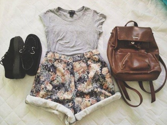 shorts shoes flowers high waisted short shirt flowered shorts