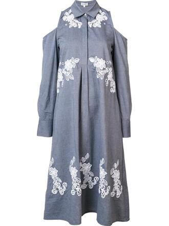 dress shirt dress cut-out women cotton grey