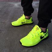 shoes,nike,black,lime,nike running shoes,nike free run,mens nike 5.0 free running shoes,pants,mens black sweat pants elastic pants legs,slim fit