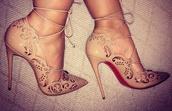 shoes,high heels,heels,strappy heels,tan,beige,christian louboutin heels,nude heels