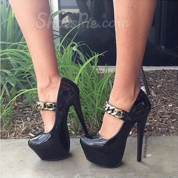 Chic Black Coppy Leather Ankle Strap High Heel Shoes