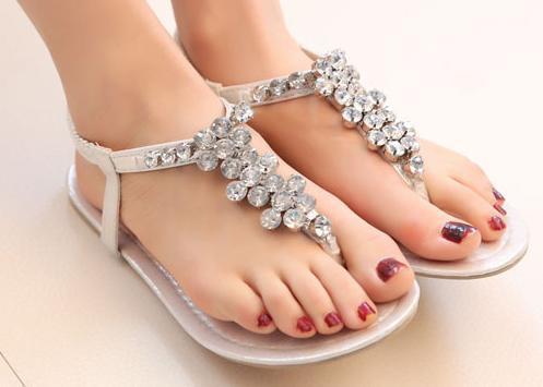 2014 princesse, strass de la mode chaussures femmes après la élastiques, flip. talon plat sandales mode