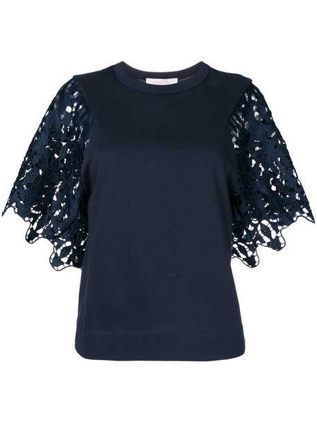 See by Chloe top women lace cotton blue
