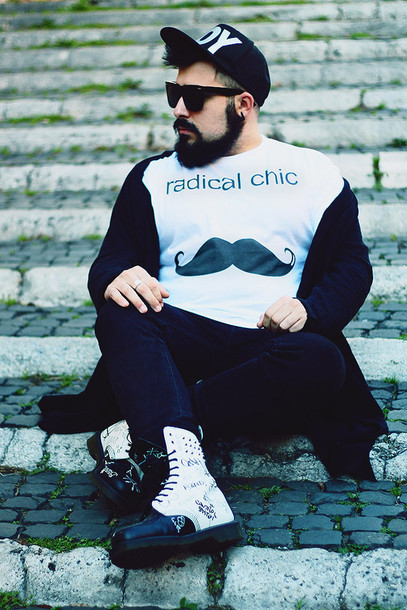 guy overboard blogger cardigan white t-shirt graphic tee high top sneakers urban menswear