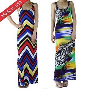 Racer Back Chevron Animal Print Full Length Long Maxi Resort Summer Sun Dress