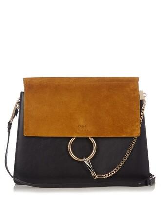 bag shoulder bag leather suede navy