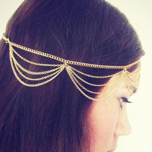 hair accessories headband chain traditional tassel alloy