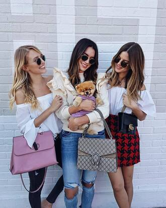 skirt tumblr mini skirt printed skirt houndstooth top white top off the shoulder off the shoulder top sweater white sweater ruffle ruffle sweater denim jeans blue jeans ripped jeans gucci gucci bag dionysus pink bag designer bag sunglasses round sunglasses black bag girl squad blogger ohh couture