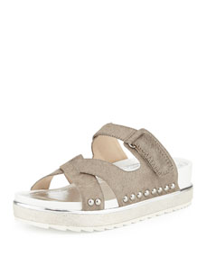 Corso calf hair slide sandal, natural