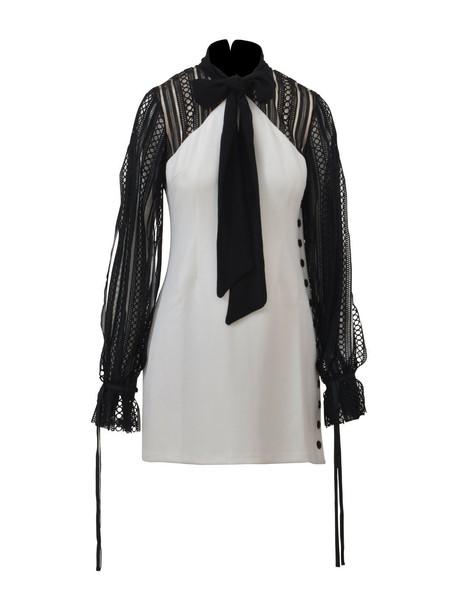 self-portrait dress lace dress bow mini lace white black