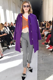 sweater,coat,purple,fall outfits,milan fashion week 2017,olivia palermo,blogger,pants,top