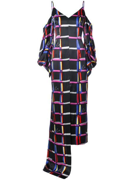 Solace London dress women cold black silk