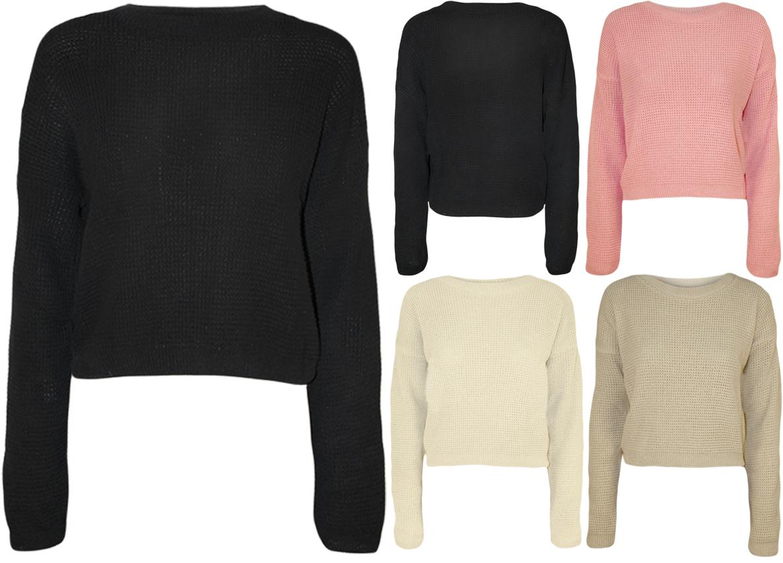 New Womens Knitted Crop Fisherman Jumper Ladies Long Sleeve Short Net Top 8 - 14   eBay