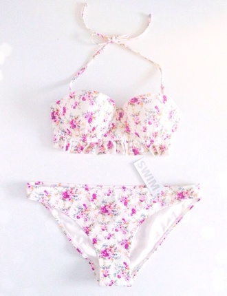 swimwear floral swimwear white swimwear bikini bikini bottoms bikini top floral cute purple roses pink roses swimmers halter bikini flowers bra underwear flower power rose girly girl