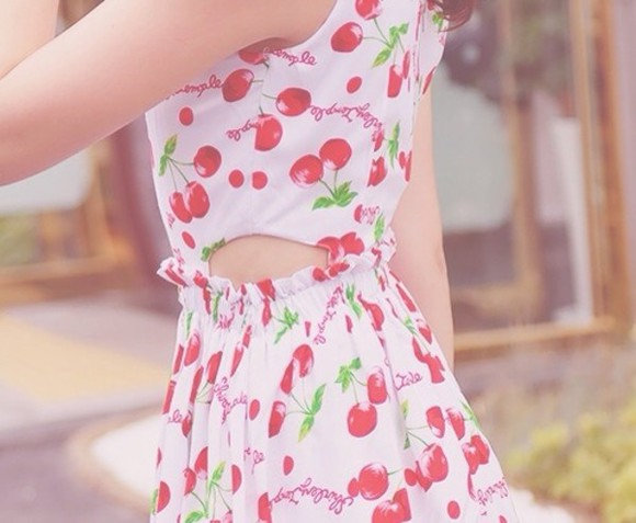dress cherry pretty cute cut-out pastel cut out dress