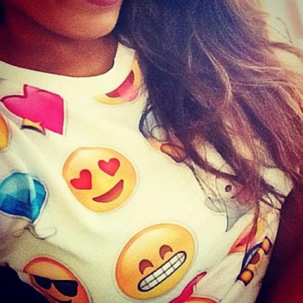 wow emojij top t-shirt pullover instagram smiles emoticons smile emoji print print iphone sweater