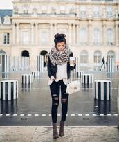 scarf,tumblr,leopard print,animal print,jacket,black jacket,black leather jacket,leather jacket,sweater,white sweater,denim,jeans,black jeans,ripped jeans,boots,pointed boots,ankle boots,grey boots,bag,white bag,gucci,gucci bag,chain bag