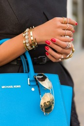 bag,clothes,michael kors,purse,blue,jewels,sunglasses,jewelry,gold bracelet,stacked bracelets,set bracelets,bracelets,ring