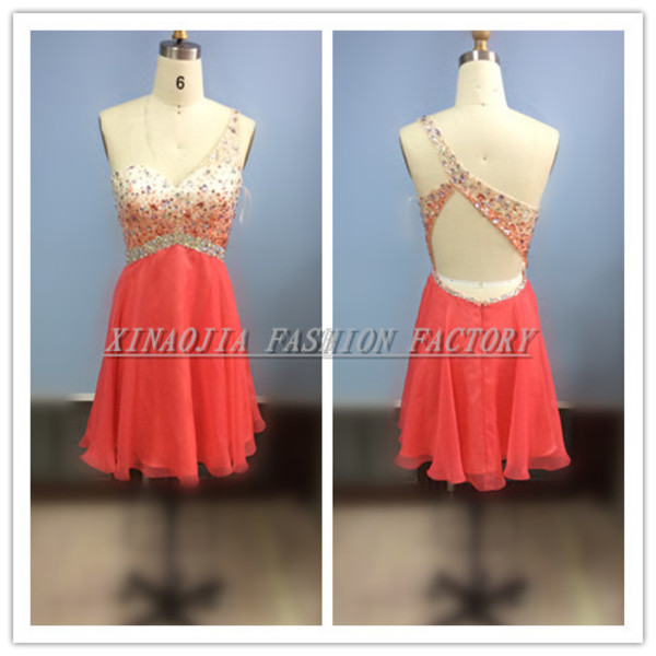 red dress cocktail dress one-shoulder prom dress 2014 cheap mini dresses