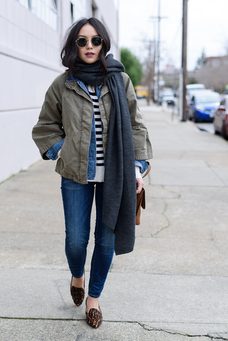 the fancy pants report blogger jacket jeans shoes scarf bag green jacket winter outfits loafers denim jacket