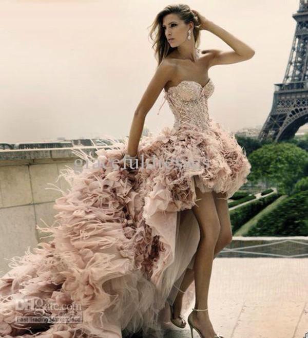 dress high-low dresses glitter dress pink dress pink pretty elegant bag prom dress prom