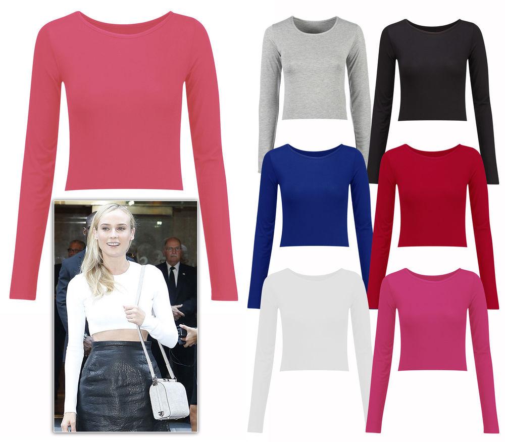 New Ladies Long Sleeve Mini Polo Cropped Top Plain Basics T Shirt Sizes UK 8 14 | eBay
