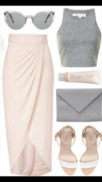 shirt gray crop top halter top halter neck top skirt sunglasses