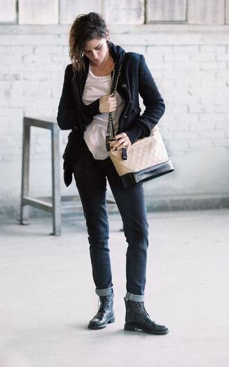 bag chanel gabrielle hobo bag chanel chanel bag kristen stewart cardigan denim jeans boots black boots t-shirt white t-shirt