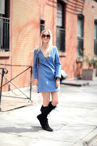 the fashion guitar blogger fringe shoes suede boots denim dress long sleeve dress round sunglasses