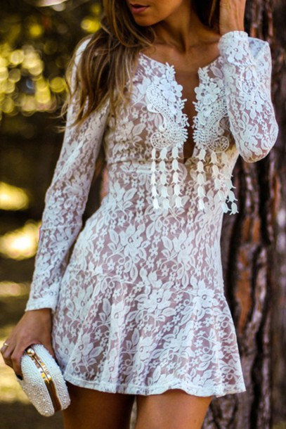 Dress Lace Girly Fall Outfits Fashion Style Cute Summer Feminine Long Sleeves Adorable