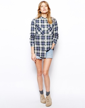 ASOS | ASOS Long Sleeve Soft Green Check Shirt at ASOS