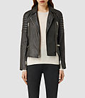 Womens leather huxley biker jacket (granite)