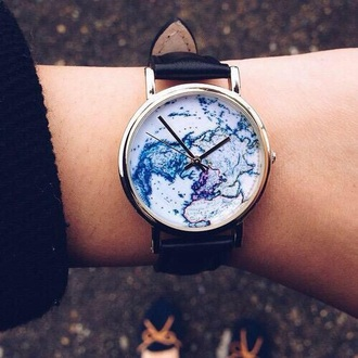 jewels watch with map print bag coat watch world blue hand arm beautiful brown map black vintage new colorful cute watch map watch