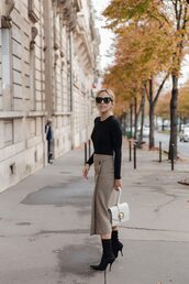skirt,tumblr,midi skirt,top,black top,boots,black boots,ankle boots,sunglasses,office outfits,bag