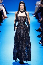dress,gown,black dress,strapless,bustier,bustier dress,kendall jenner,paris fashion week 2016,fashion week 2016,model,runway,lace dress,elie saab