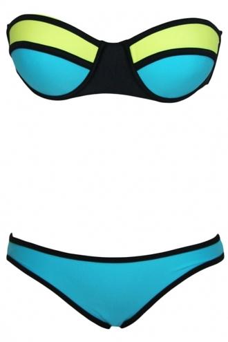 swimwear sexy bikini colorblock bandage bikini 2piece swimsuit