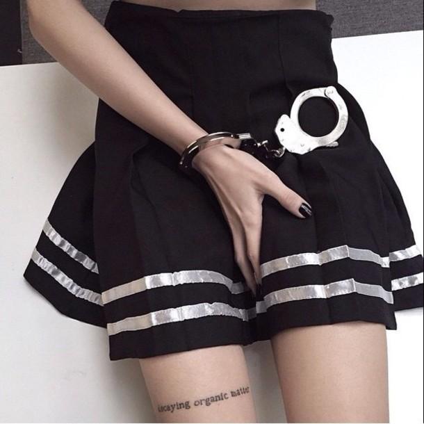 shirt black silver tumblr skirt