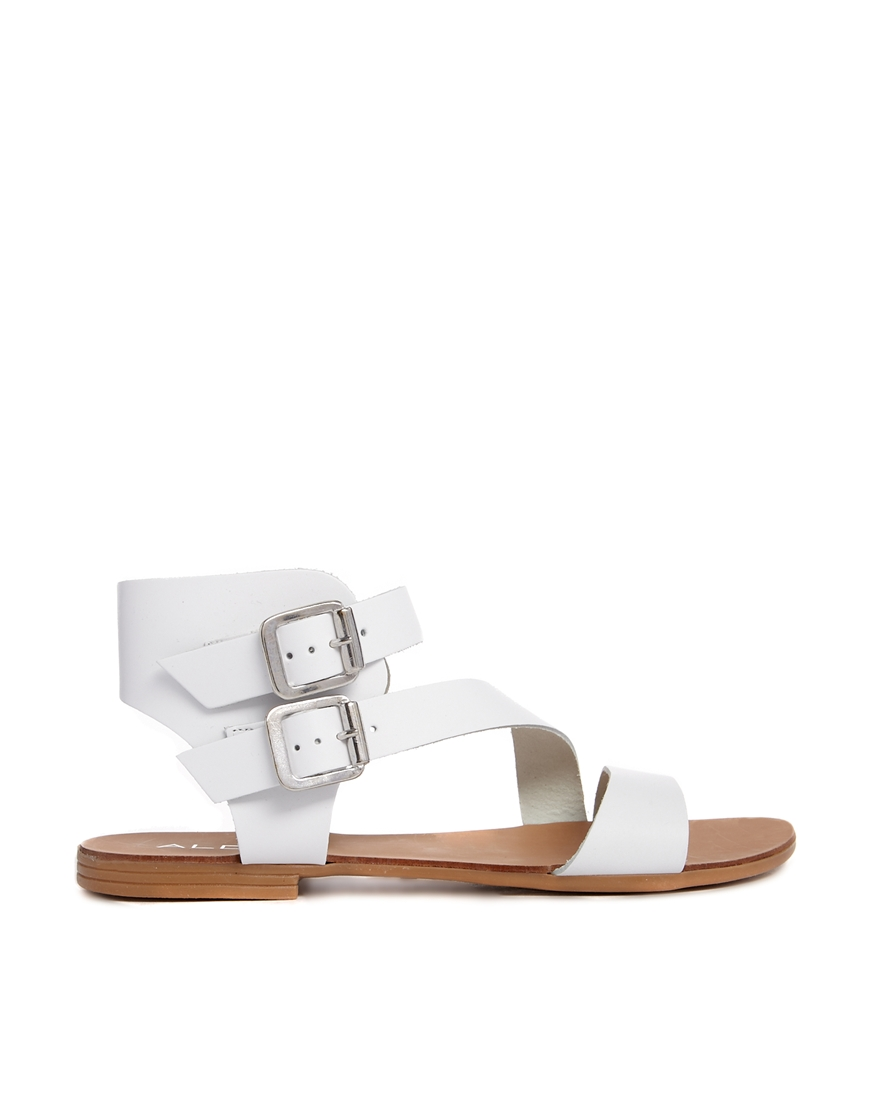 ALDO White Leather Asymmetric Flat Sandals at asos.com
