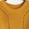 Mustard drop shoulder eyelet sweater -shein(sheinside)