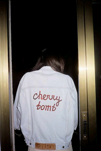 jacket denim jacket denim quote on it cherry bomb
