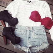shoes,black heels,heels,sweater,hat,underwear,shorts,teenagers,high waisted denim shorts,High waisted shorts,red bandeau,white t-shirt,light high waisted shorts,cardigan,dress,shirt,white long sleeve blouse,see through,long sleeves,wear,cloth,clothes,top,bra,strapless
