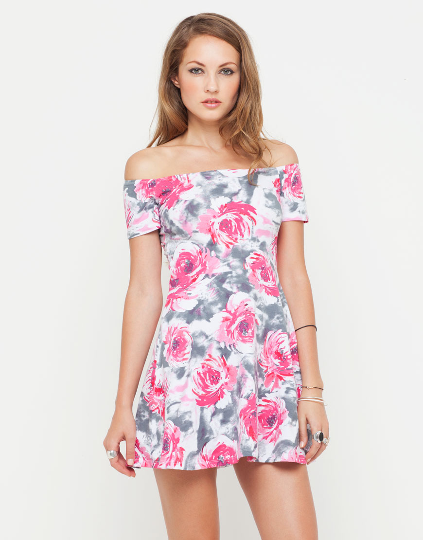Buy Motel Catalina Off Shoulder Dress in Pink Flower Buzz  at Motel Rocks