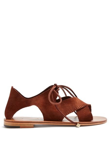 ÁLVARO sandals suede dark brown shoes
