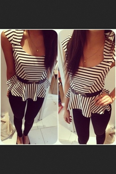 f2c06eab117f9a t-shirt, peplum top, peplum, stripes, black and white stripes ...