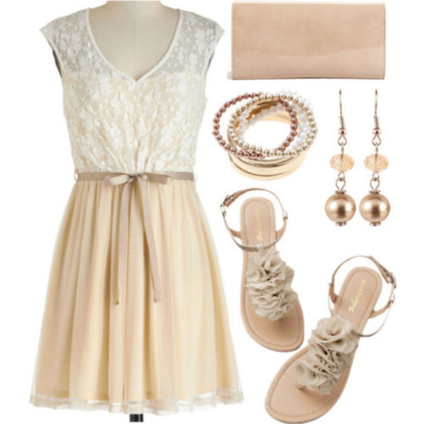 dress beige dress lace dress cute dress