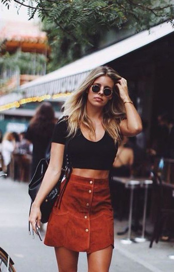 Top: high waisted suede skirt, low neck crop top, round retro ...