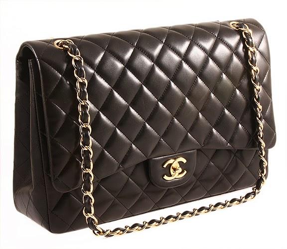 Authentic chanel black lambskin jumbo maxi flap bag
